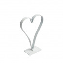 Band iron heart on metal base, L9.5cm, H15cm, whit